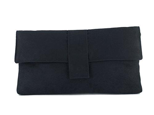 LARGE GREY SUEDE SHOULDER BAG SUEDETTE CLUTCH BAG